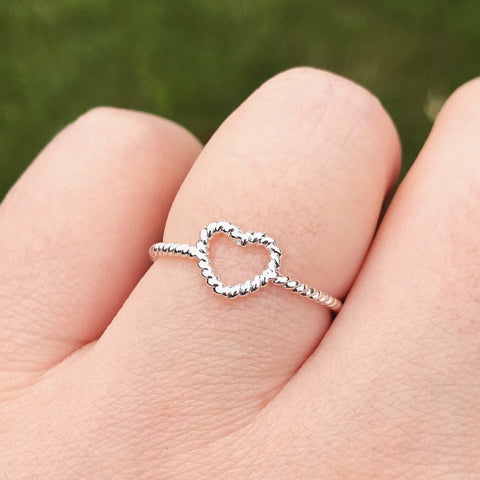 Silver Twisted Heart Ring