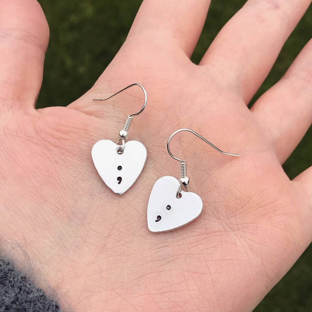 Heart Semicolon Silver Drop Earrings