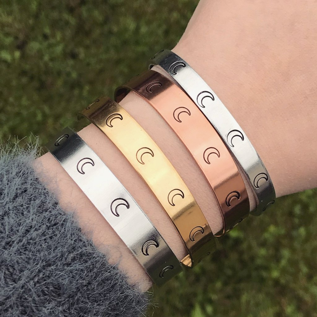 Crescent Moon Symbol Cuff Bracelet [Silver / Gold / Copper]