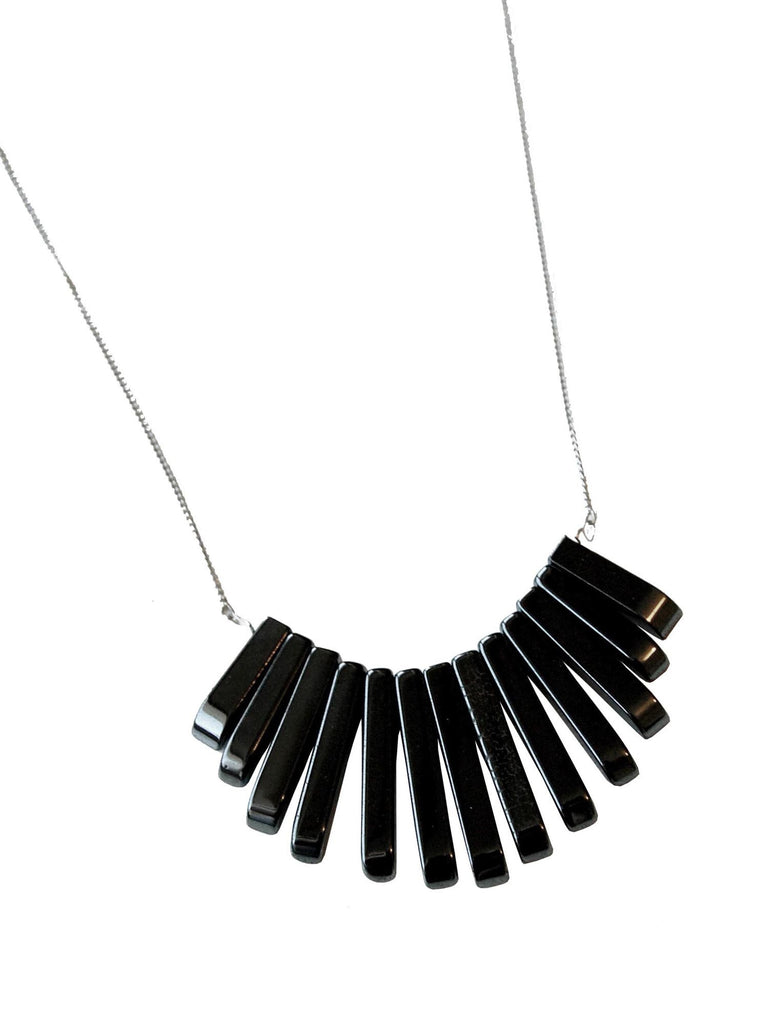 Graduated Black Hematite Gemstone Fan on Silver Necklace