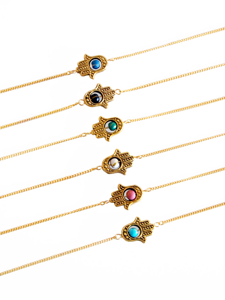 Gold Sideways Hamsa with Accent Bead Necklace (Blue/Pink/Black/Turquoise/Green/White)