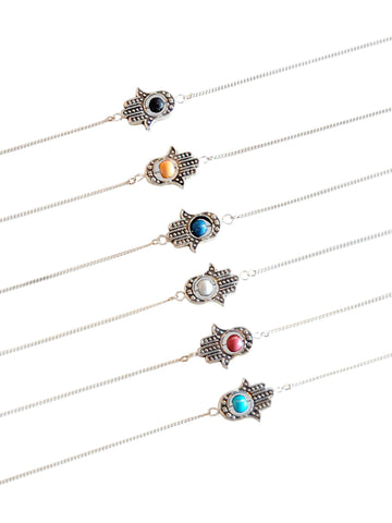 Silver Sideways Hamsa with Accent Bead Necklace (Blue/Black/Green/Turquoise/Peach/White)
