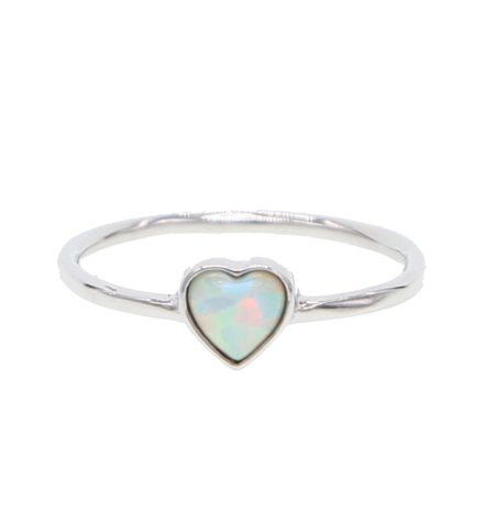 Opal Heart Sterling Silver Ring