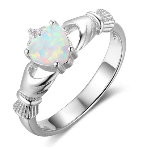 Opal Claddagh Sterling Silver Ring