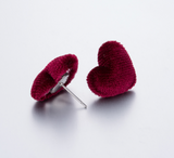Red Velvet Heart Stud Earrings