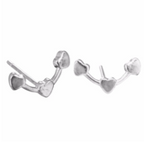 Heart Ear Climber Studs in Sterling Silver