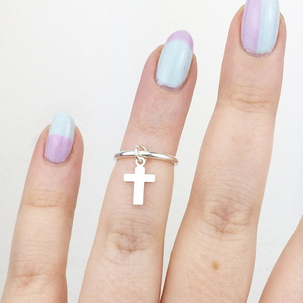 Silver Midi / Above Knuckle Ring with Cross Charm