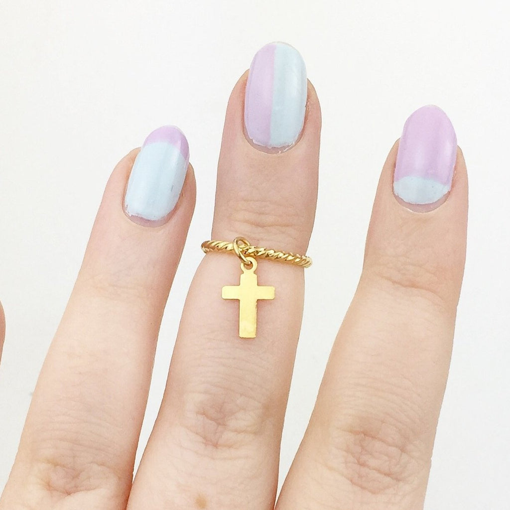 Twisted Gold Plated Midi / Above Knuckle Ring with Cross Charm