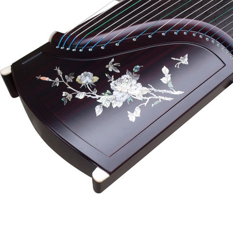 Buy Professional Peony Carved Purple Sandalwood Guzheng Instrument Chinese Zither