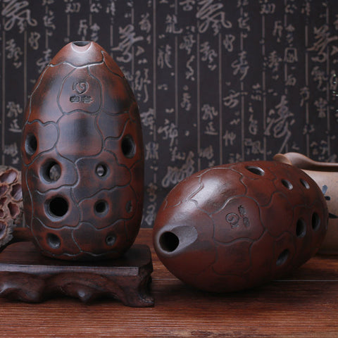 Quality Chinese Pottery Clay Flute Ancient Xun Instrument Ceramic Ocarina 10 Holes