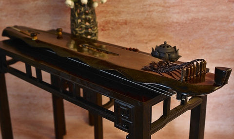 Buy Concert Grade Aged Fir Wood Guqin Chinese 7 String Zither Banana Leaf Type