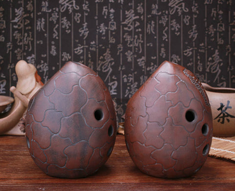 Professional Chinese Clay Flute Ancient Xun Instrument Egg Pattern Ocarina 10 Holes