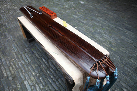 Buy Premium Quality Aged Fir Wood Guqin Chinese 7 String Zither Duan Wen Banana Leaf Style