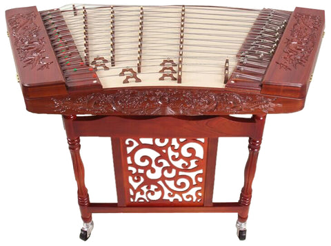 Professional Carved Rosewood Yangqin Instrument Chinese Hammered Dulcimer with Accessories