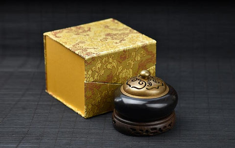 Exquisite Black Sandalwood & Copper Censer for Guqin
