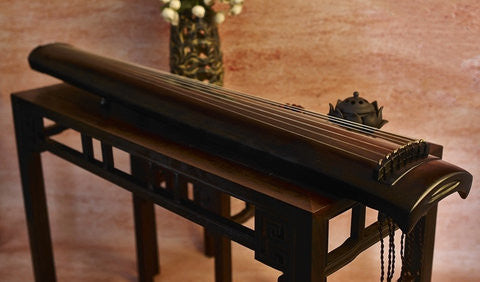 Buy Professional Aged Fir Wood Guqin Instrument Chinese 7 String Zither Zheng He Type