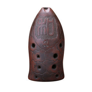 Professional Carved Xun Flute Chinese Ancient Instrument Fish Pattern Ocarina 10 Holes