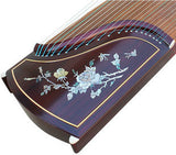 Professional Peony Carved Purple Sandalwood Guzheng Instrument Chinese Harp