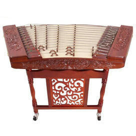 Concert Grade Carved Rosewood Yangqin Instrument Chinese Hammered Dulcimer 402 Type with Accessories