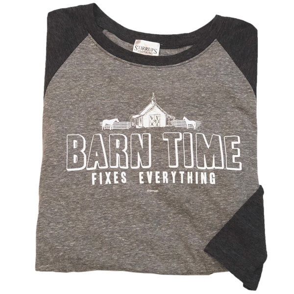 Barn Time Fixes Everything Baseball Tee Stirrups Classic Short Sleeve