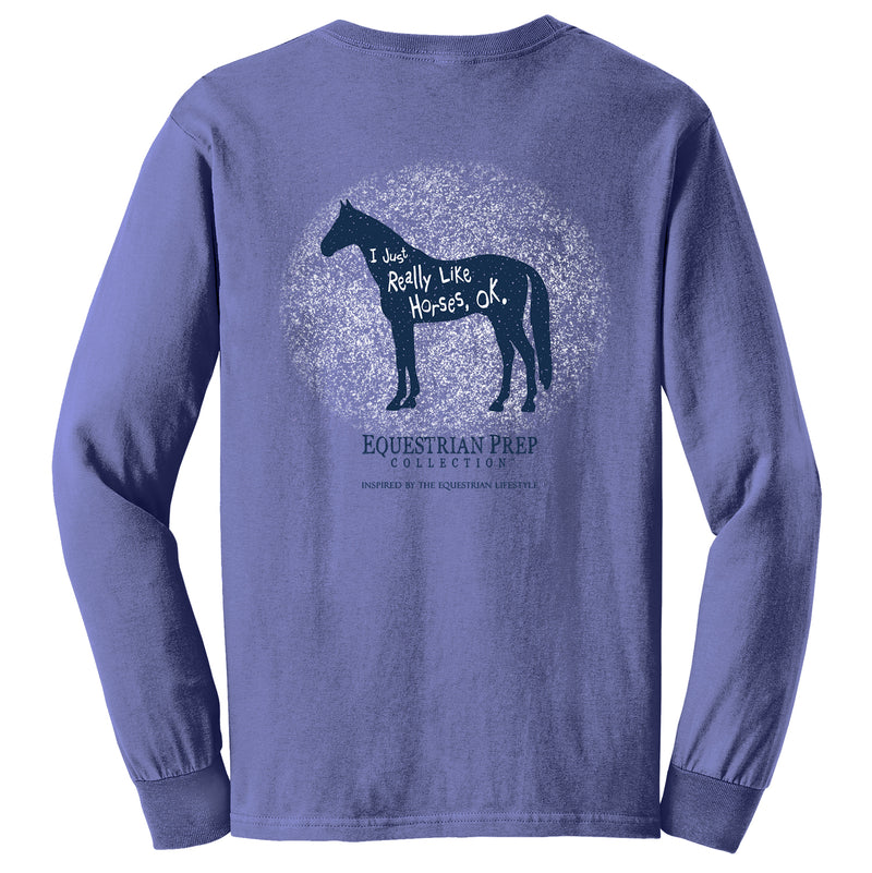 I Just Really Like Horses - Youth Comfort Colors Long Sleeve Tee EP-323
