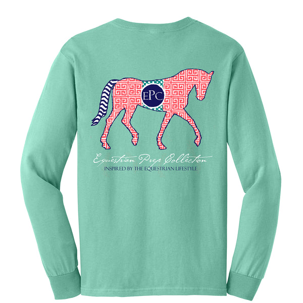Preppy Pattern Horse Long Sleeve - EP-57