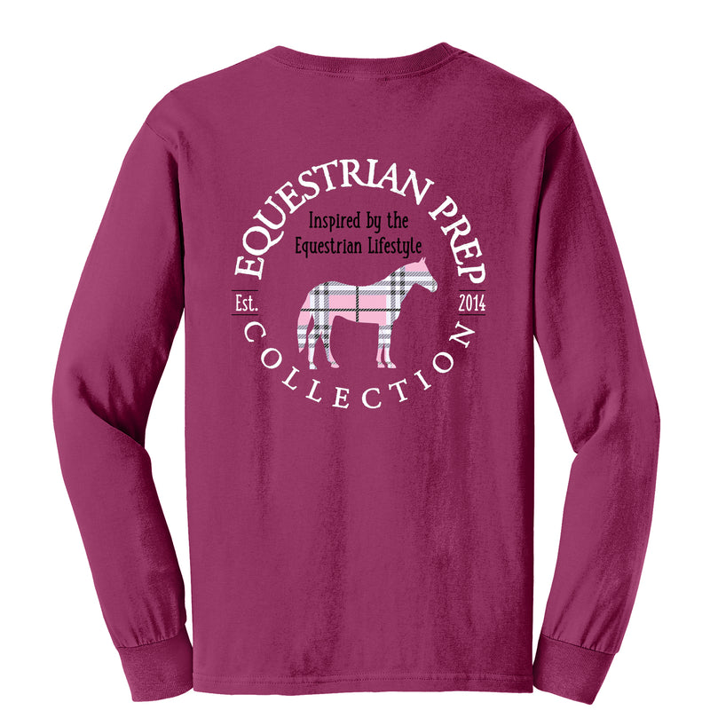 Preppy Plaid Horse - Adult Comfort Colors Long Sleeve Tee EP-75