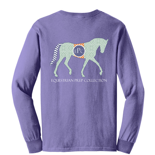 Preppy Pattern Horse, Violet - Long Sleeve EP-76