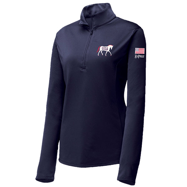 USA Horse with Flag Navy 1/4 Zip Pullover