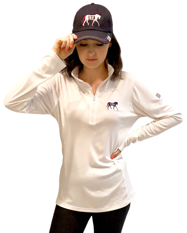 USA Horse with Flag White 1/4 Zip Pullover