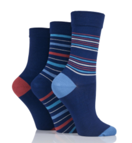 Ladies Gentle Grip  Bamboo Diabetic Socks -   Midnight - 3 pack