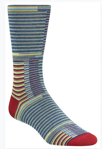 Bugatchi Men's Dress Socks - Stripes (Blue/Yellow)
