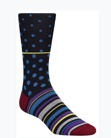 Bugatchi Men's Dress Socks - Dots & Stripes (blue)