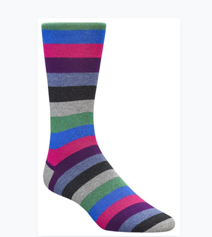 Bugatchi Men's Cashmere Dress Socks - Stripes (blue/fuschia/grey)
