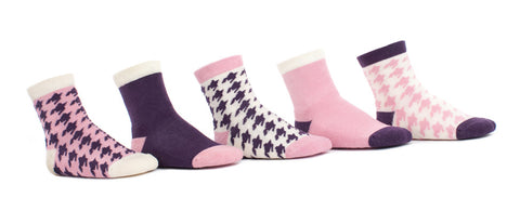 Houndstooth Pink & Eggplant - 5 Single Socks
