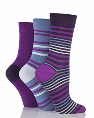 Ladies Gentle Grip  Bamboo Diabetic Socks - Aubergine, Denim, Navy  - 3 pack