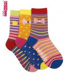 Bows - 3 Single Socks (Kids)