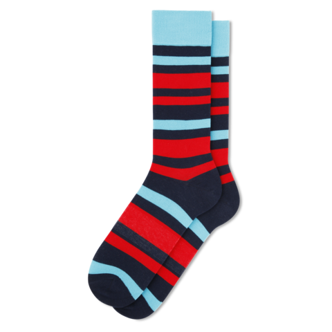 Bold Stripe Dress Socks (blue/navy/red)