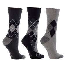 Gentle Grip Grey Argyle - 3 pairs
