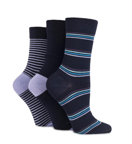Ladies Gentle Grip  Bamboo Diabetic Socks - Navy/Cyan - 3 pack