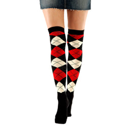 Over The Knee - Black/Red Argyle