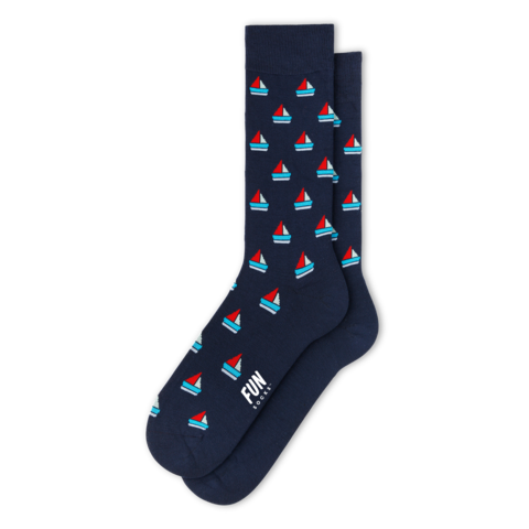 Men's Sailboat Dress Socks (Navy)