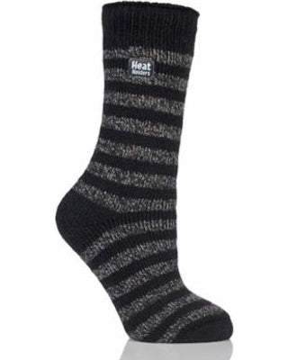 Heat Holders Thermal Crew Sock - Black/Grey Stripe