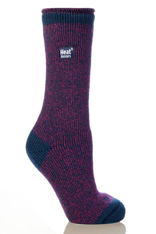 Heat Holders Twist Crew Thermal Socks - Fuchsia/Indigo