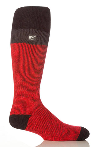 Heat Holders Long Stripe Thermal Ski Socks - Red/Black