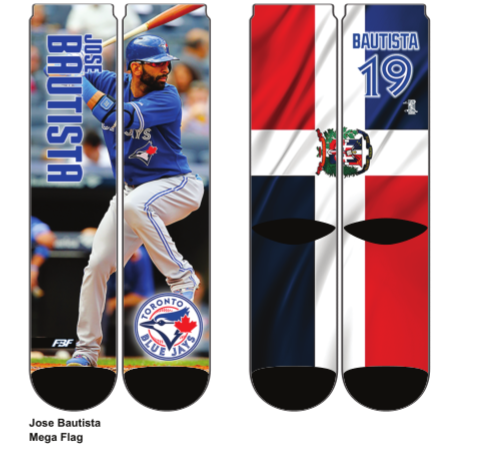 Toronto Blue Jays Jose Bautista Mega Flags Crew Socks