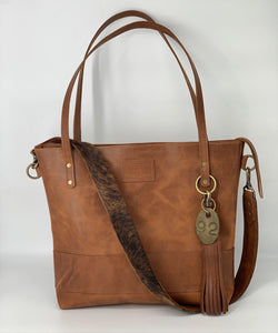 Large Carmel Leather Tote with Brindle Hair-on-Hide Bag Strap