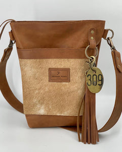 Carmel Palomino Hair-on-Hide Small Leather Bucket Bag