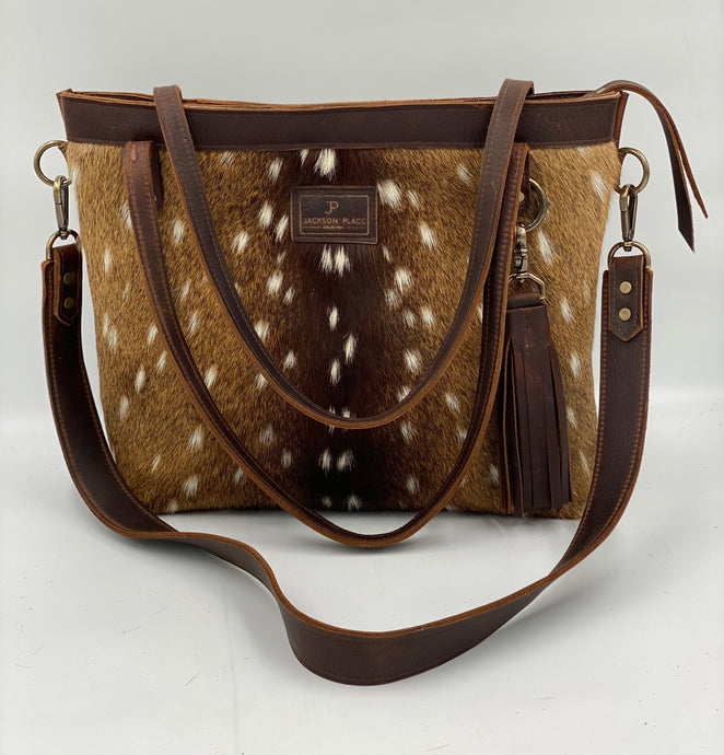 Large Axis Hair-On-Hide & Leather Tote Bag