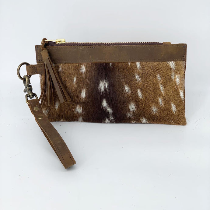 Banded Top Trim Axis Deer Hair-on-Hide Leather Clutch / Wristlet Bag